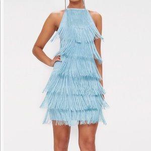 Blue tassel plunging back dress